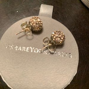 hillberg & Berk Jewelry - Hillberg & Berk - rose gold sparkle ball earrings